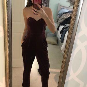 Express Red Velvet Dress Jumpsuit